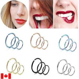 Pair Fashion Stainless Steel Nose Open Ring fake Nose Nail Hoop Body Piercing