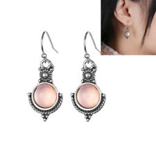 Birthday Gift Retro Rainbow Moonstone Ear Studs Silver Plated Dangle Earring