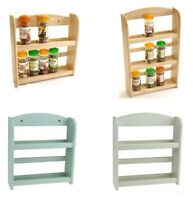 Wooden Spice Herb Rack Jar Storage Holder Free Standing/Wall Mounted - 2/3 Tier