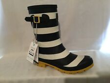 Joules Mid Rain Boots - Molly Welly Navy Wide Stripe med 10