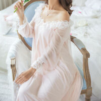 Ladies Girl Lace Ruffles Victorian Nightwear Sleepwear Lolita Retro Nightdress