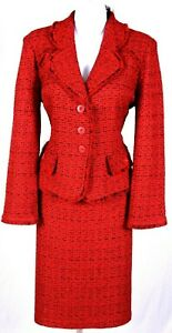 ST.JOHN Women Knit Fringed Red Black Boucle Tweed Jacket & Skirt Sz 12-14