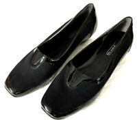 Easy Spirit Loafers Flats Womens Size 8 Black Patent Leather Microfiber Slip On
