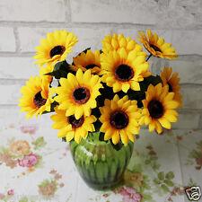 1 Bunch 7X Silk Flowers Simulation Sunflower Plastic Cloth Sunshine Room Decor