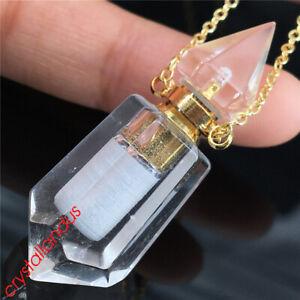 1pc clear quartz Perfume bottles natural quartz crystal double point pendant