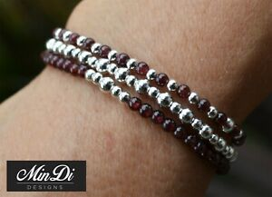Our Latest Stackable Stretch Bracelets with Genuine Sterling Silver & Garnet!