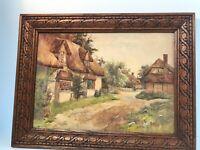 Vintage Original Painting English Cottage Landscape Etched Wood Frame 16 x12.5