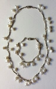 Stirling Silver Necklace And Bracelet With Freshwater Pearls