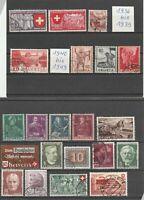 Lot Schweiz Briefmarken gestempelt 21 Stk.  Jahr 1936-1949 Helvetia