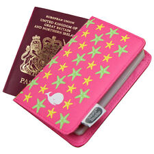Funda de pasaporte en rosa estrella tela