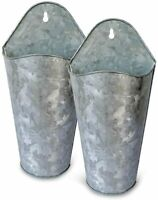 Farmhouse Style Metal Wall Hanging Planter, (2 Sets) Vase for Plants or Flower