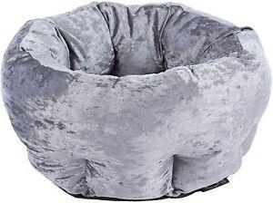 Scruffs Pet Bed Grey Velvet Round Donut Washable Cat Cushion Dog Beds 45cm