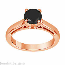 1.07 Carat Enhanced Fancy Black Diamond Solitaire Engagement Ring 14K Rose Gold