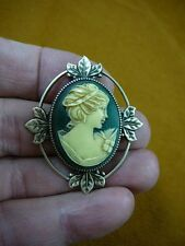 (CS36-33) Woman with hair band green + ivory CAMEO jewelry Pin Brooch Pendant