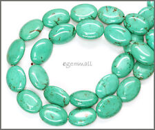 "16"" Magnesite Howlite Flat Oval Beads 13x18mm Turquoise Blue #83015"