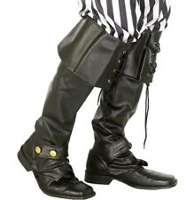 Hombre Disfraz Pirata Lujo Piel Sintética Cubrebotas Negra De SMIFFYS