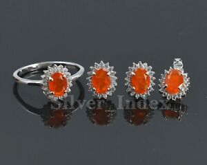 925 Solid Silver Natural Orange Opal Cut Gems Ring Earring Pendent Jewelry Set