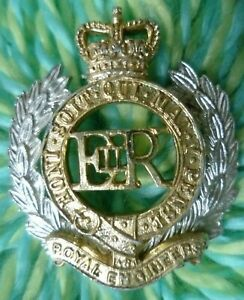 Staybrite Royal Engineers Cap Badge QC No Lugs Anodised Aluminium JR GAUNT