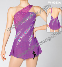 Girl Competition Figure skating Dress Ice Skating Dress Costume Sparkle Purple