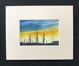 """Desert Sunset original mounted pastel painting 10""""x8"""" G.Burgess Cornwall"""