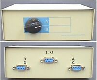 Serial 9D Data Switch Box, 1 to 2 or 2 to 1, DB9 9-way D-type Female Sockets