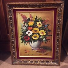 Vintage Artsy Floral Oil Painting Canvas Signed Karl Stunning Period Frame