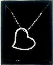 Avon Heart Charm Necklace Chai Pendant Valentine Love Silver Lining Diamond Gift