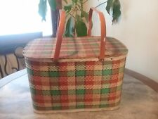 Vintage REDMON  Green/Burnt Orange/Tan Plaid  PICNIC BASKET