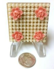 Vintage Picture Frame Double Photos Tiny Miniature Pearls Applied Roses 1950's