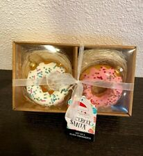 NEW DONUT ORNAMENTS SET OF 2 GLASS PINK WHITE W/BEADS CHRISTMAS HOLIDAY DECOR