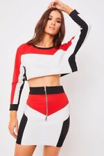Womens White and Black Colour Block panel detail Crop Top and Skirt Co-Ord Set