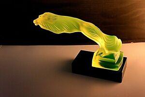 "BOHEMIAN ART DECO  GLASS CAR MASCOT - HOOD ORNAMENT "" GREYHOUNDS"". URANIUM YELL."