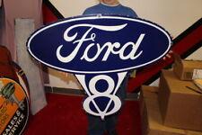 """New ListingLarge Ford V8 Car Dealership Gas Oil 36"""" Porcelain Metal Sign"""