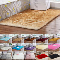 Fluffy Rugs Anti-Skid Shaggy Area Carpet Dining Rectangle Floor Mat Living Home