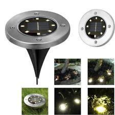 8LED Solar Disk Lights Ground Garden Lawn Deck Path Yard Walkway Waterproof