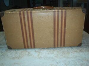 VINTAGE CARDBOARD TWEED AND STRIPE COVERED SUITCASE LUGGAGE WITH METAL CORNERS