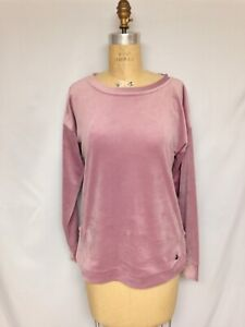 Ideology Womens Velvet Jewel Neck Sweatshirt 100029155 Antique Rose Medium NWOT