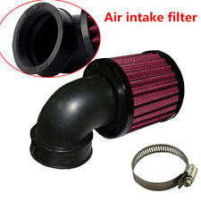 Universal Black Aluminum+Rubber 90° Motorcycle Air Cleaner Intake Filter+Clamp