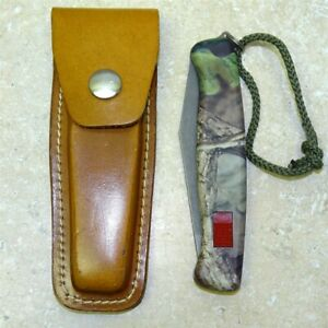 Vintage Victorinox Or Wenger Delemont Switzerland Camo Knife + Sheath