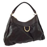 GUCCI Guccissima Abbey GG Hand Bag Purse Dark Brown Leather AK25808d