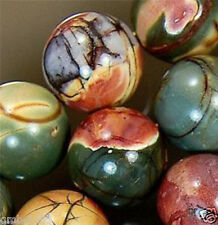 "8mm NATURAL MULTICOLOR PICASSO JASPER ROUND GEMSTONE LOOSE BEADS 15""AAA"