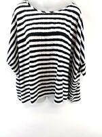 HUGO BOSS Womens T Shirt Top M Medium White Black Stripes Viscose Poly Oversized