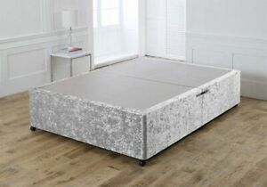 Stunning Silver Crushed Velvet Divan Base Only With Optional Headboard