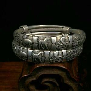 Rare 2 Pcs Old Miao Silver Bracelet Carved Men's Bangle 12 Chinese Zodiac