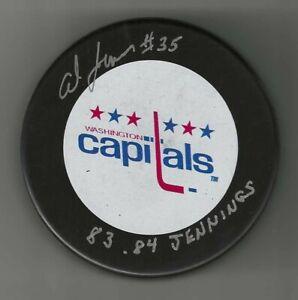 "Al Jensen Signed & Inscirbed ""1983-94 Jennings"" Washington Capitals Puck"