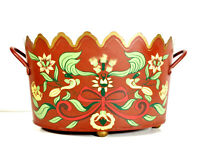 Vtg Tole Monteith Gilt Scalloped Rim Red Footed Cache Pot Oval Large Planter