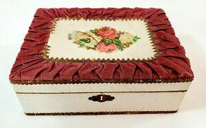 Original Victorian Trinket Jewelry Box w Gathered Ribbon, Paper Lace, Die-Cut