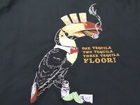Caribbean Mens Hawaiian Shirt Sz Med. Black w/Embroidered TEQUILA Toucan NWT $89