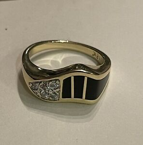BERNARD PASSMAN MARDI GRAS LADIES 18K BLACK CORAL DIAMOND RING
