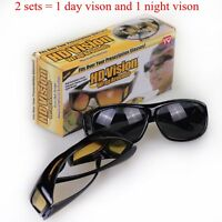 2 Sets HD Night&Day Vision Wraparound Sunglasses Fits over glasses UV Protection